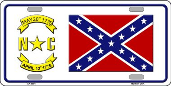 Confederate Flag North Carolina Novelty Wholesale Metal License Plate