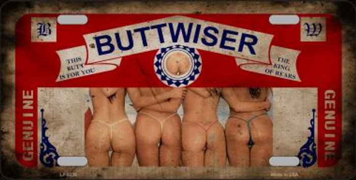 Buttwiser Beer Girls Vintage Wholesale Novelty Metal License Plate