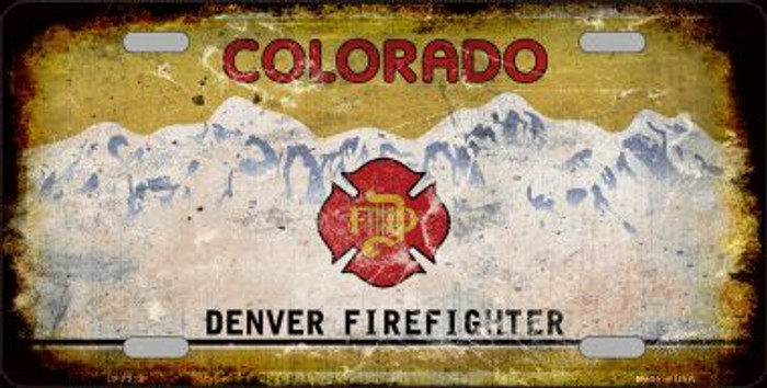 Denver Firefighter Background Rusty Novelty Wholesale Metal License Plate