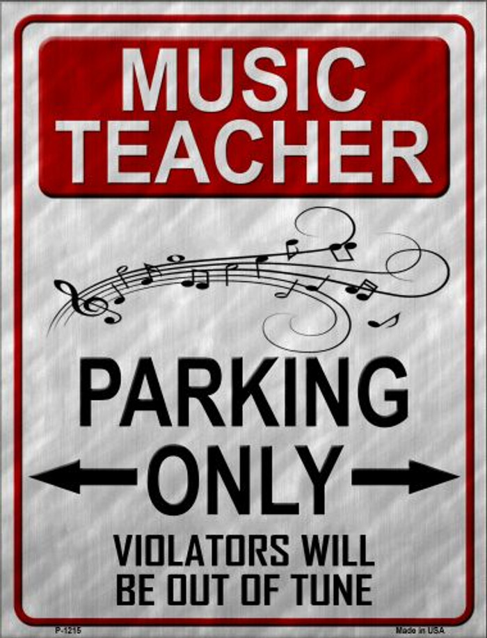 Music Teacher Parking Wholesale Metal Novelty Parking Sign