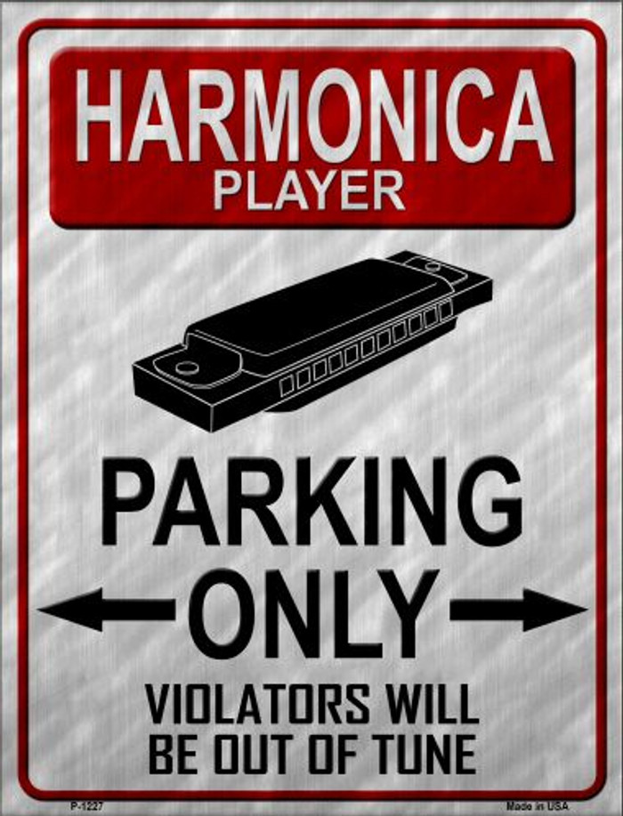 Harmonica Player Parking Wholesale Metal Novelty Parking Sign