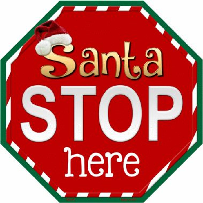 Santa Stop Here Wholesale Metal Novelty Stop Sign