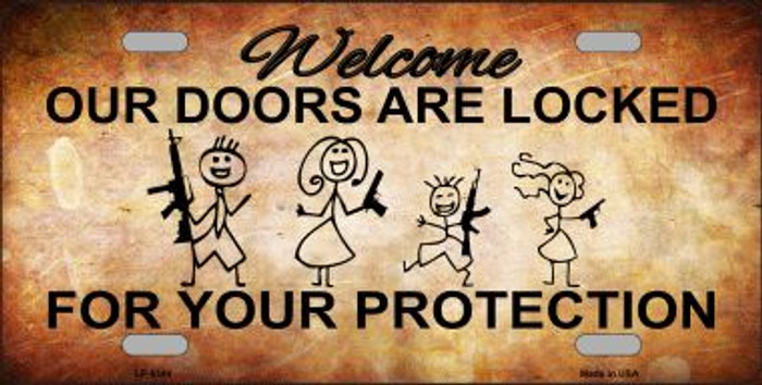 Doors Locked Your Protection Wholesale Metal Novelty License Plate LP-8344