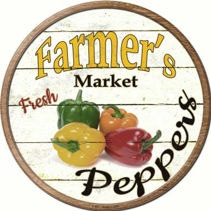 Farmers Market Peppers Wholesale Novelty Metal Circular Sign