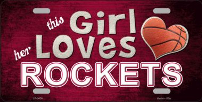 This Girl Loves Her Rockets Novelty Wholesale Metal License Plate