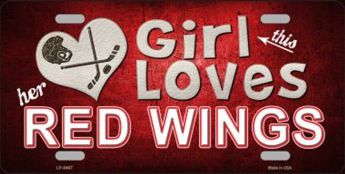 This Girl Loves Her Red Wings Novelty Wholesale Metal License Plate
