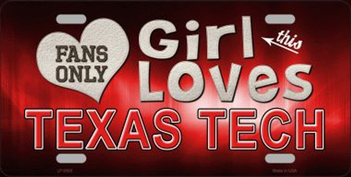 This Girl Loves Texas Tech Novelty Wholesale Metal License Plate