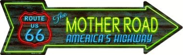 Route 66 Mother Road Neon Wholesale Novelty Metal Arrow Sign A-284