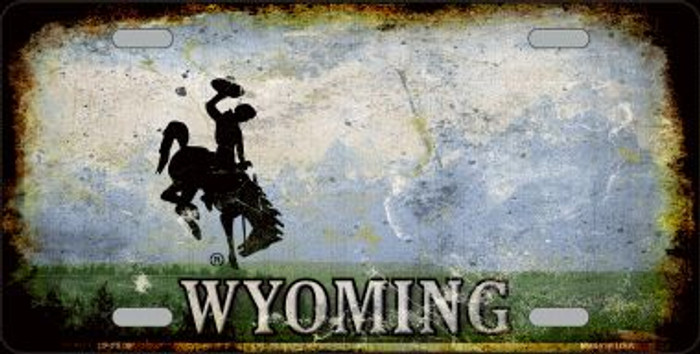 Wyoming Rusty State Background Wholesale Metal Novelty License Plate