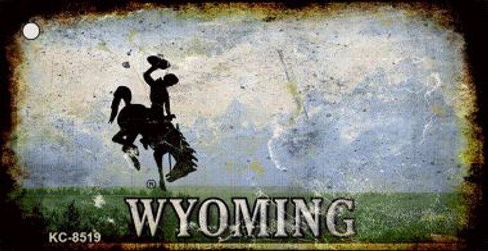 Wyoming Rusty State Background Wholesale Novelty Key Chain