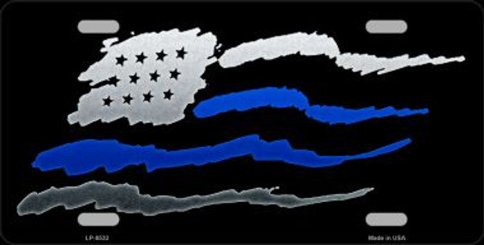 American Flag Thin Blue Line Wholesale Metal Novelty License Plate