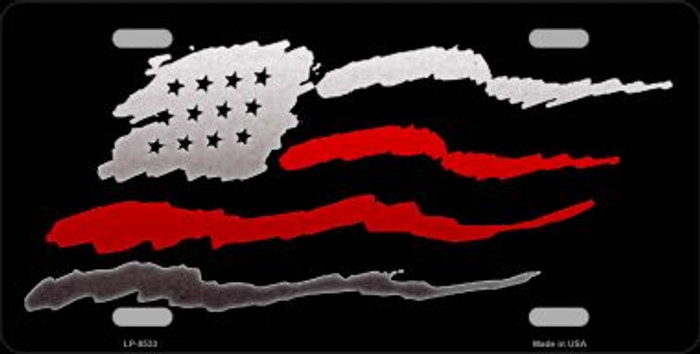 American Flag Thin Red Line Wholesale Metal Novelty License Plate