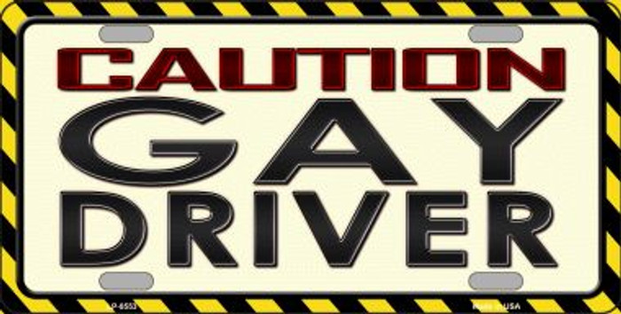 Caution Gay Driver Wholesale Metal Novelty License Plate