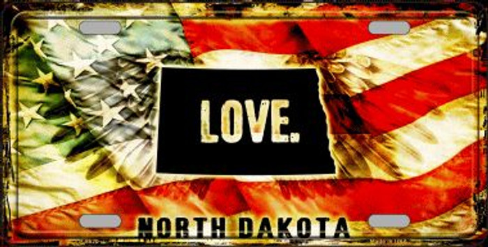 North Dakota Love Wholesale Metal Novelty License Plate