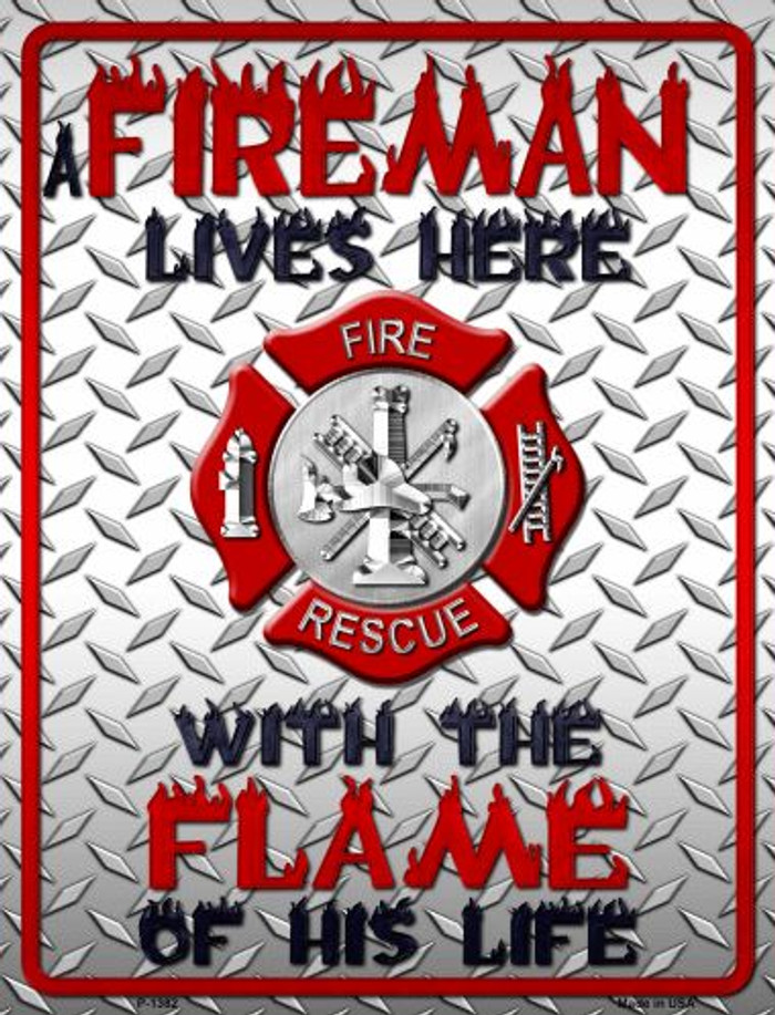 Fireman Wholesale Metal Novelty Parking Sign