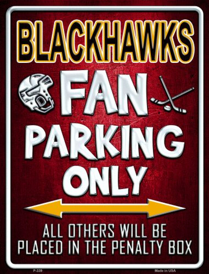 Black Hawks Wholesale Metal Novelty Parking Sign