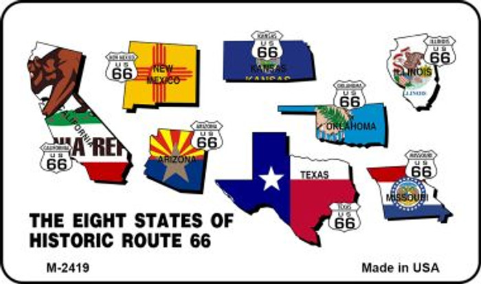 Route 66 Historic Eight Flags Wholesale Novelty Metal Magnet