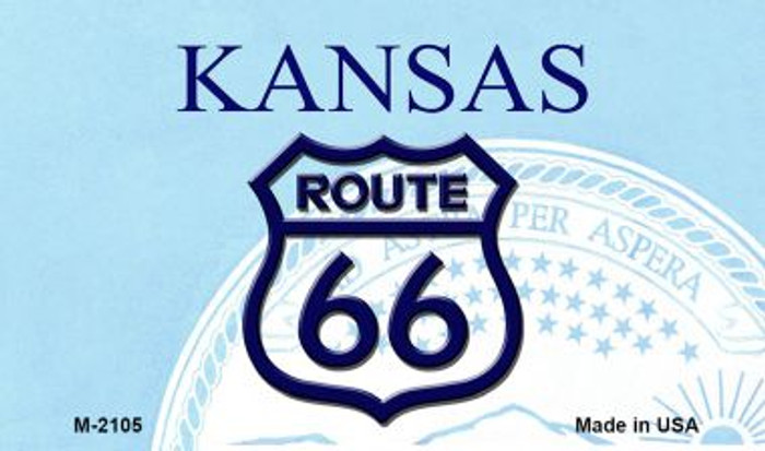 Route 66 On Kansas Background Wholesale Novelty Metal Magnet