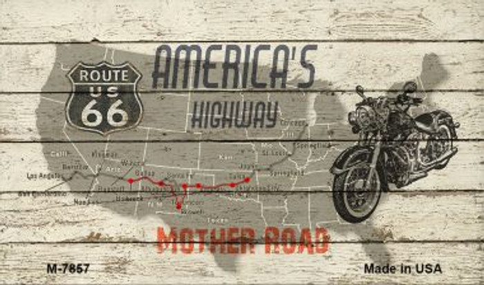 Route 66 Mother Road On Wood Wholesale Novelty Metal Magnet