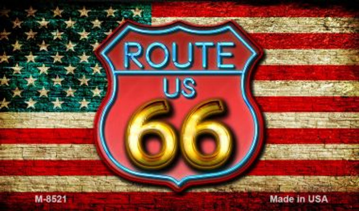 Route 66 Neon Shield On American Flag Wholesale Novelty Metal Magnet