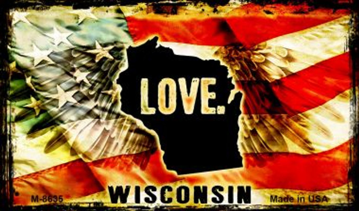 Love Wisconsin Wholesale Novelty Metal Magnet