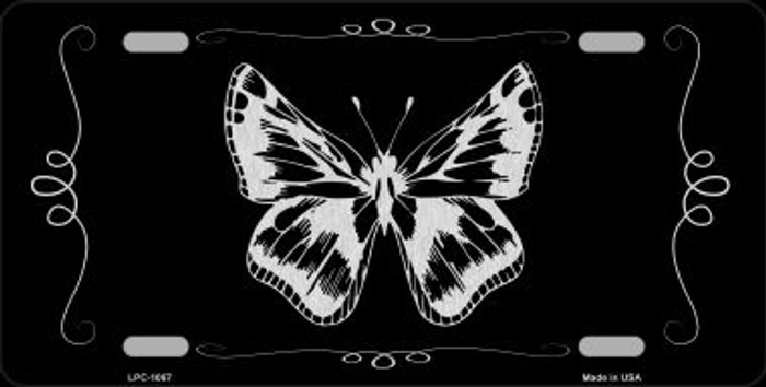 Butterfly Black Brushed Chrome Novelty Wholesale Metal License Plate
