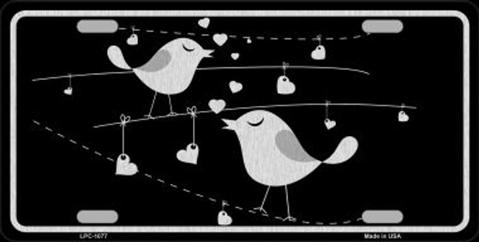 Love Birds Black Brushed Chrome Novelty Wholesale Metal License Plate