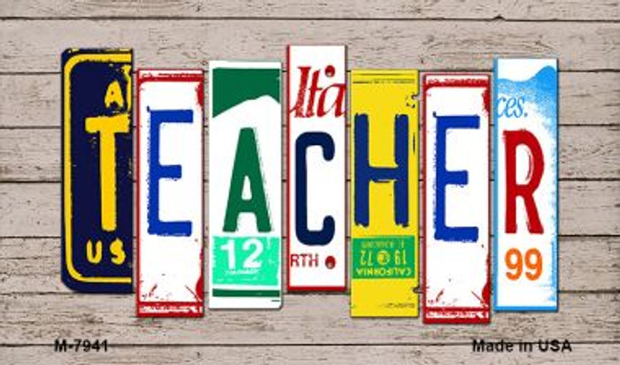 Teacher Wood License Plate Art Wholesale Novelty Metal Magnet