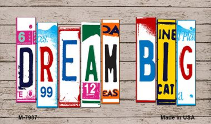 Dream Big Wood License Plate Art Wholesale Novelty Metal Magnet