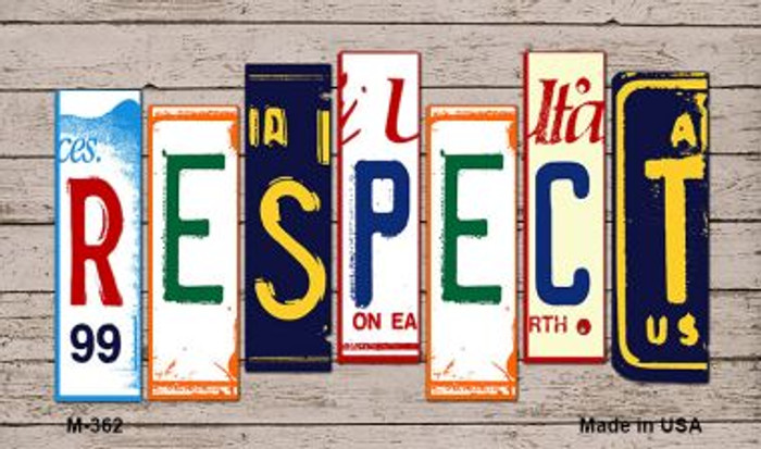 Respect License Plate Art Wholesale Novelty Metal Magnet