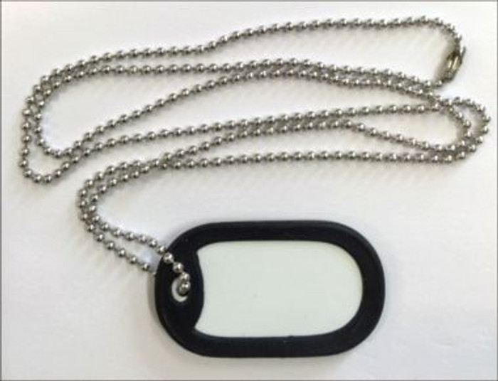 "BULK-DT-000 White Dye Sublimation 2"" x 1"" Wholesale Metal Novelty Dog Tag Necklace 100pc Pack BULK-DT-000"