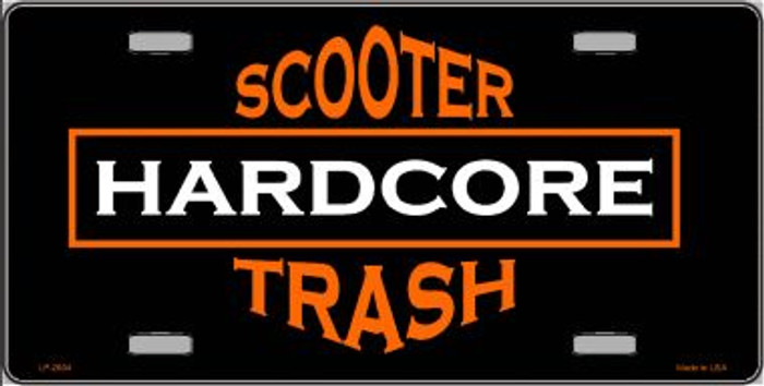 Hardcore Scooter Trash Black Novelty Wholesale Metal License Plate LP-2004