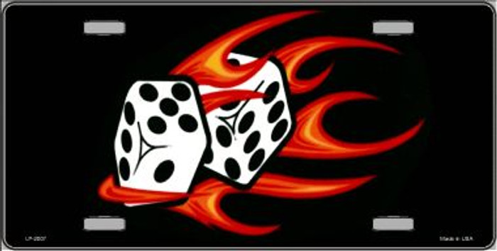Red Hot Flaming Dice Wholesale Metal Novelty License Plate