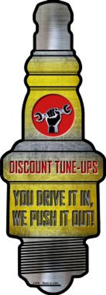 Discount Tuneups Wholesale Novelty Metal Spark Plug Sign J-026