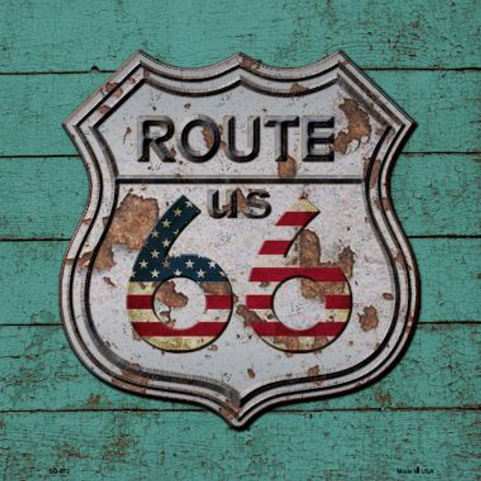 Route 66 Vintage On Wood Wholesale Novelty Metal Square Sign