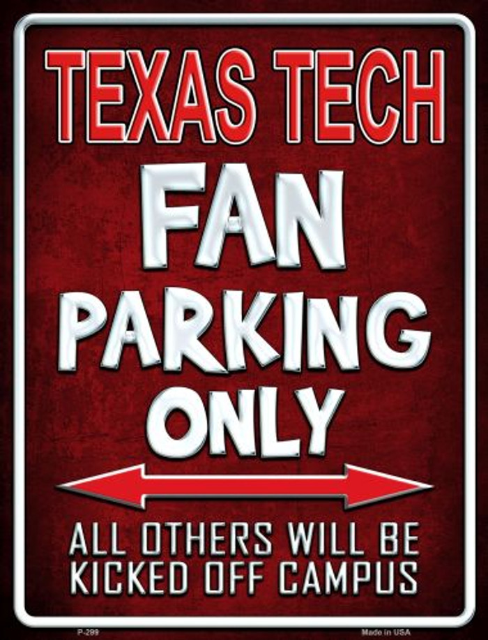Texas Tech Wholesale Metal Novelty Parking Sign