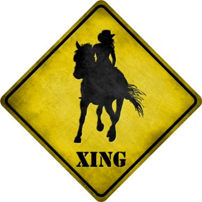 Cowgirl Xing Wholesale Novelty Metal Crossing Sign