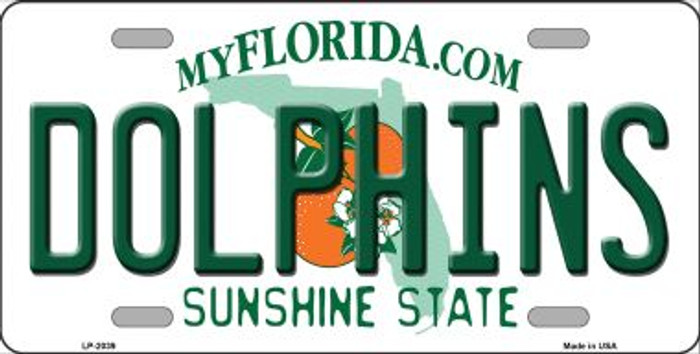 Dolphins Florida State Background Novelty Wholesale Metal License Plate LP-2039
