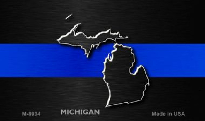 Michigan Thin Blue Line Wholesale Novelty Metal Magnet