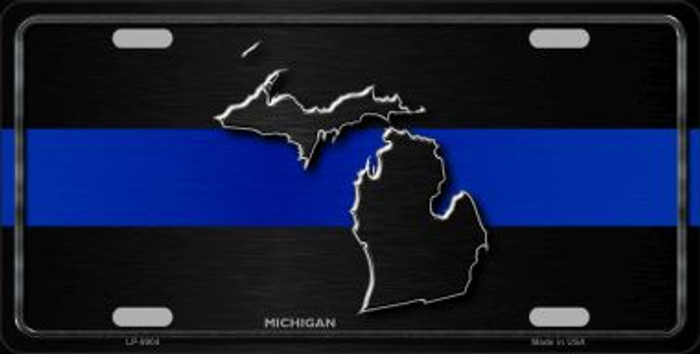 Michigan Thin Blue Line Wholesale Metal Novelty License Plate