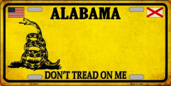 Alabama Dont Tread On Me Wholesale Metal Novelty License Plate