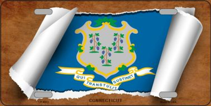 Connecticut Flag Scroll Wholesale Metal Novelty License Plate