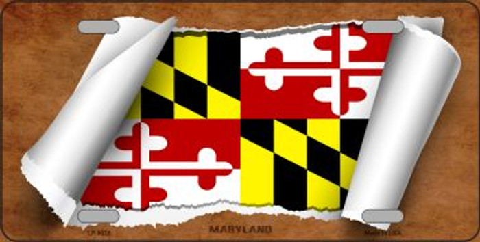 Maryland Flag Scroll Wholesale Metal Novelty License Plate
