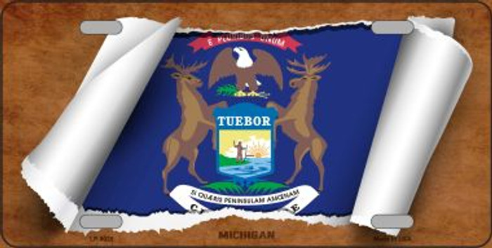Michigan Flag Scroll Wholesale Metal Novelty License Plate