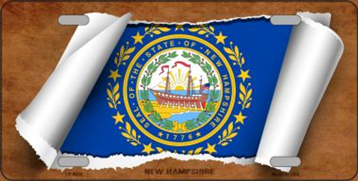 New Hampshire Flag Scroll Wholesale Metal Novelty License Plate
