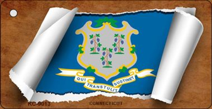 Connecticut Flag Scroll Wholesale Novelty Key Chain