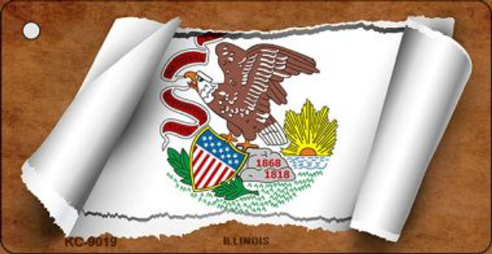 Illinois Flag Scroll Wholesale Novelty Key Chain