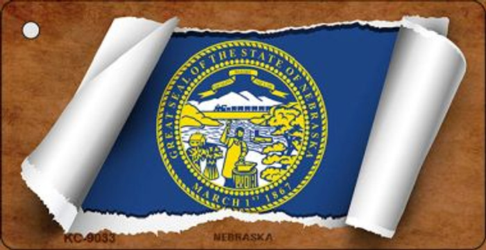 Nebraska Flag Scroll Wholesale Novelty Key Chain