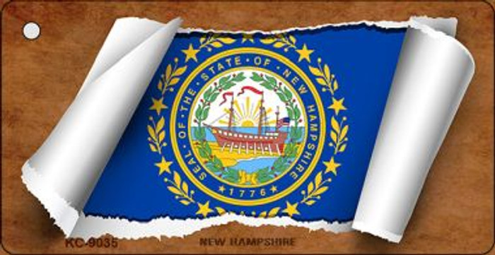 New Hampshire Flag Scroll Wholesale Novelty Key Chain