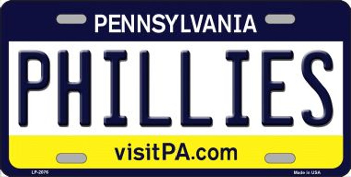 Phillies Pennsylvania Novelty State Background Wholesale Metal License Plate LP-2076